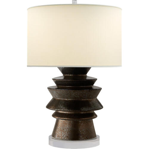 Visual Comfort - E. F. Chapman Stacked Disk 29 inch 100.00 watt Crystal Bronze Ceramic Table Lamp Portable Light