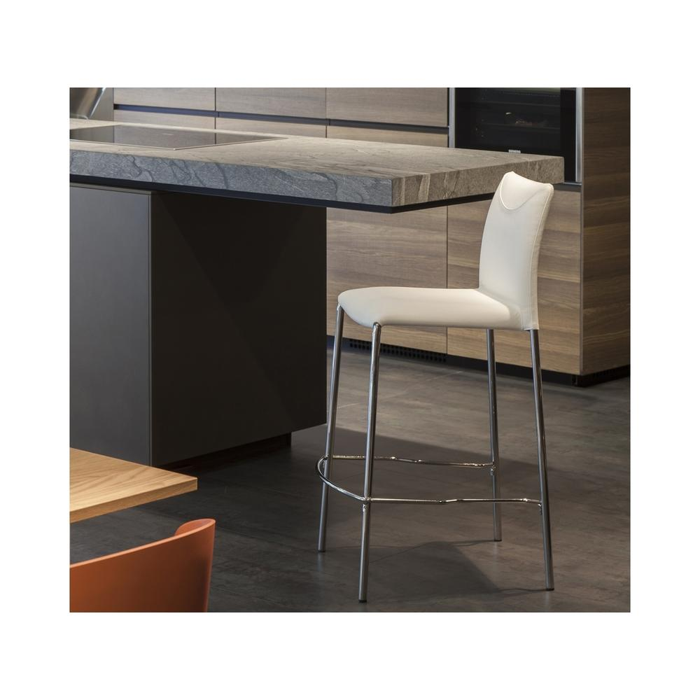 The Romi Bar Height Bar Stool In White Leather With Chrome Plated Base