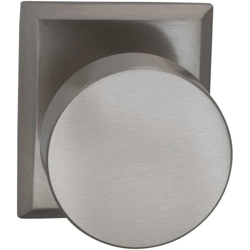 Interior Modern Knob Latchset with Rectangular Rose in (US15 Satin Nickel Plated, Lacquered)