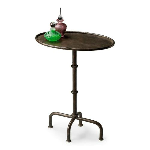 Butler Specialty Company - This oval pedestal table is a great finishing touch to virtually any space. Its cast metal frame is diminutive in scale, but big on looks with a distinctive textured pewter finish that is well suited to either casual or more formal living spaces.