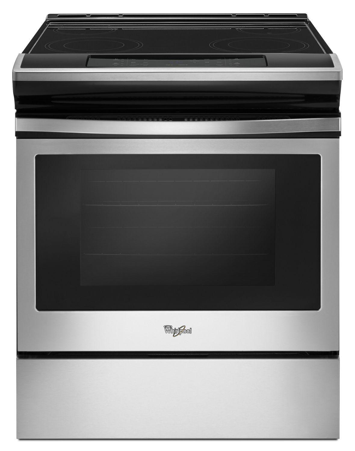 Whirlpool4.8 Cu. Ft. Guided Electric Front Control Range With The Easy-Wipe Ceramic Glass Cooktop Black-On-Stainless