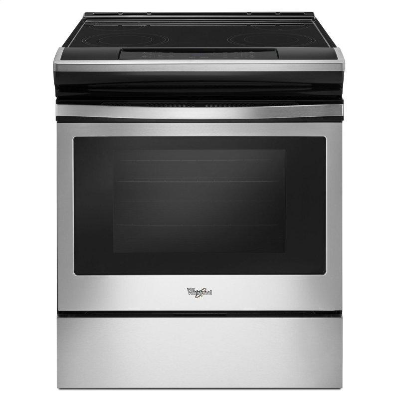 4.8 cu. ft. Guided Electric Front Control Range With The Easy-Wipe Ceramic Glass Cooktop Black-on-Stainless