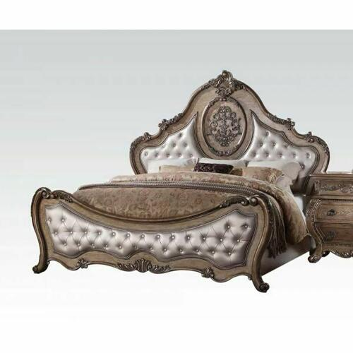 ACME Ragenardus Eastern King Bed - 26307EK - PU & Vintage Oak