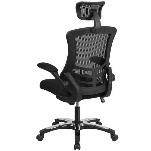 High Back Black Mesh Executive Swivel Chair with Chrome Plated Nylon Base and Flip-Up Arms
