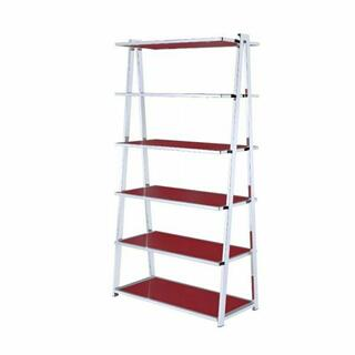 ACME Coleen Bookshelf - 92453 - Red High Gloss & Chrome