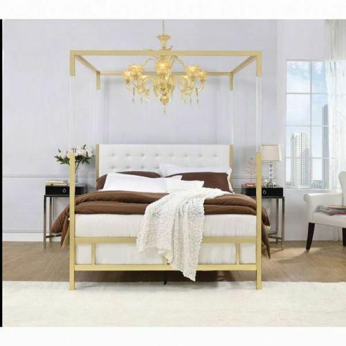 ACME Raegan Queen Bed (Canopy) - 22680Q - White PU & Gold