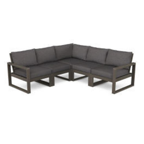 Polywood Furnishings - EDGE 5-Piece Modular Deep Seating Set in Vintage Coffee / Ash Charcoal