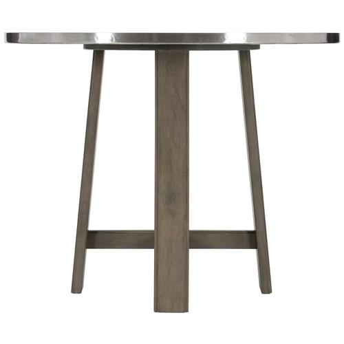 Gallery - Harding Pub Table in Portobello Finishes Available Glacier White (WW1) Midnight Black (BW1) Weathered Greige (GW1) Description Round table top wrapped in stainless steel Wire brushed wood base with four legs and stretchers Adjustable glides Options Note: Optional glass top available, but recommeneded to prevent scratching of metal top. Order with 305-265G. To order in the available wire brushed finishes, specify the 3-digit finish number. Also available in non-wire brushed finishes - Cocoa, Portobello and Smoke. See 305-265 & 305-776N . Specifications subject to change without notice. Due to differences in screen resolutions, the fabrics and finishes displayed may vary from the actual fabric and finish colors. ALL RELATED PRODUCTS