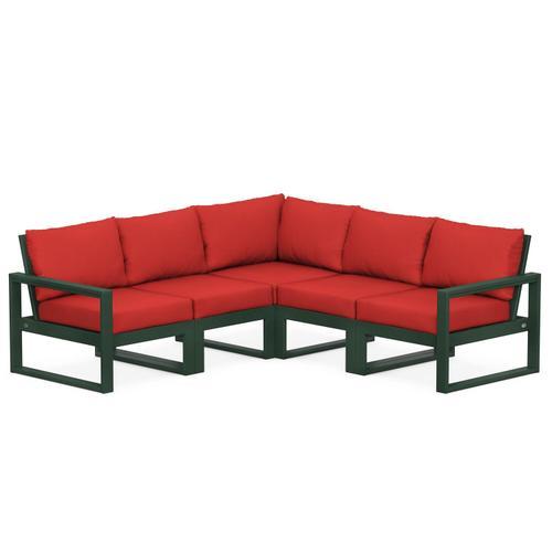 Polywood Furnishings - EDGE 5-Piece Modular Deep Seating Set in Green / Crimson Linen