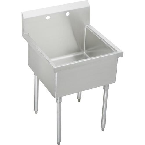 "Elkay Weldbilt Stainless Steel 27"" x 27-1/2"" x 14"" Floor Mount, Single Compartment Scullery Sink"