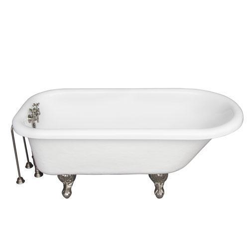 """Andover 60"""" Acrylic Roll Top Tub Kit in White - Brushed Nickel Accessories"""