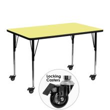 Mobile 24''W x 48''L Rectangular Yellow Thermal Laminate Activity Table - Standard Height Adjustable Legs