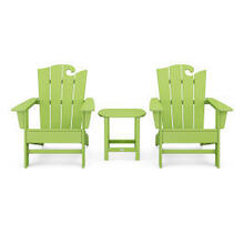 View Product - Wave 3-Piece Adirondack Set with The Ocean Chair in Lime