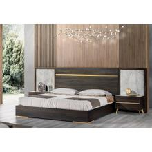 See Details - Nova Domus Velondra - Modern Eucalypto + Marble Bed with Two Nightstands