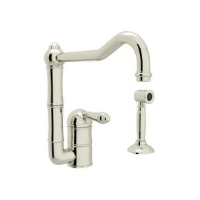 Acqui Single Hole Column Spout Kitchen Faucet with Sidespray - Polished Nickel with Metal Lever Handle
