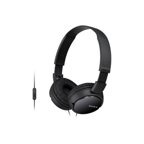 Sony - Wired On-Ear Headphones with Microphone - Black