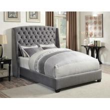 Pissarro Transitional Upholstered Grey and Chocolate Eastern King Bed