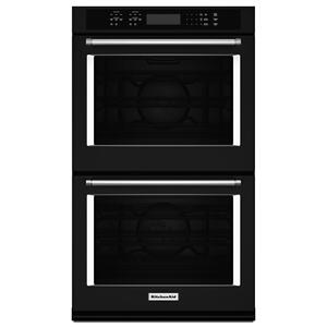 """KITCHENAID27"""" Double Wall Oven with Even-Heat™ True Convection Black"""