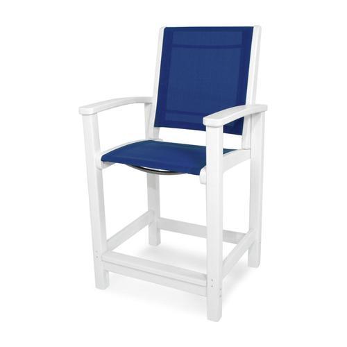 White & Royal Blue Coastal Counter Chair