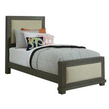 3/3 Twin Upholstered Bed - Distressed Dark Gray Finish
