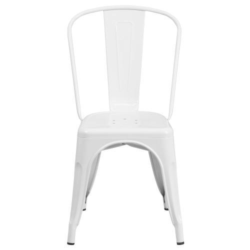 White Metal Indoor-Outdoor Stackable Chair