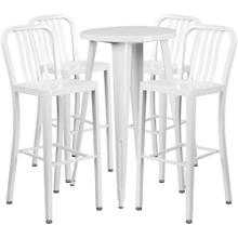 24'' Round White Metal Indoor-Outdoor Bar Table Set with 4 Vertical Slat Back Stools
