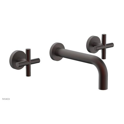 """Phylrich - TRANSITION - Wall Lavatory Set 7 1/2"""" Spout - Cross Handles 120-11 - Weathered Copper"""