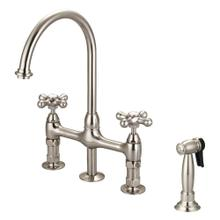 See Details - Harding Kitchen Bridge Faucet with Sidespray and Metal Button Cross Handles - Brushed Nickel