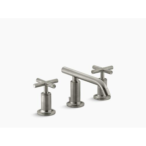 Vibrant Brushed Nickel Widespread Bathroom Sink Faucet With Low Cross Handles and Low Spout