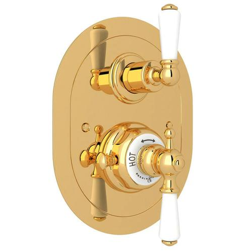 Edwardian Era Oval Thermostatic Trim Plate with Volume Control - English Gold with Metal Lever Handle