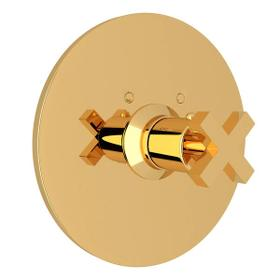 Lombardia Thermostatic Trim Plate without Volume Control - Unlacquered Brass with Cross Handle