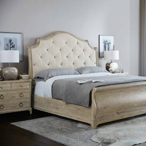 Bernhardt - King-Sized Rustic Patina Upholstered Sleigh Bed in Sand (387)