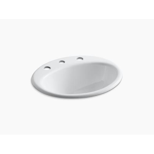"Sea Salt Drop-in Bathroom Sink With 8"" Widespread Faucet Holes"