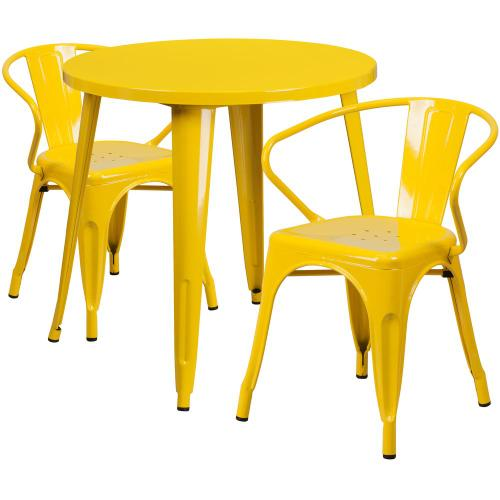 30'' Round Yellow Metal Indoor-Outdoor Table Set with 2 Arm Chairs