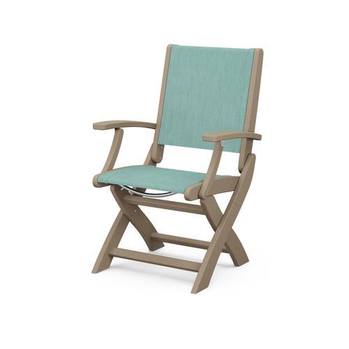 Coastal Folding Chair in Vintage Sahara / Aquamarine Sling