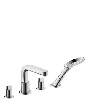 Chrome 4-Hole Roman Tub Set Trim with Full Handles and 1.75 GPM Handshower Product Image