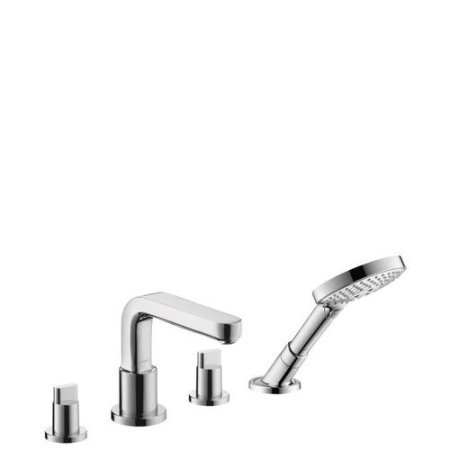 Chrome 4-Hole Roman Tub Set Trim with Full Handles and 1.75 GPM Handshower