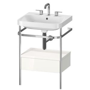 Furniture Washbasin C-shaped With Metal Console Floorstanding, White High Gloss (decor)