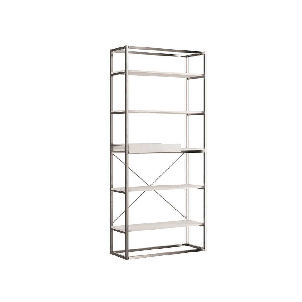 The Noa Bookcase Part Of Our Kd Collection In Matte White With Chromed Metal Frame And Removable Tray.