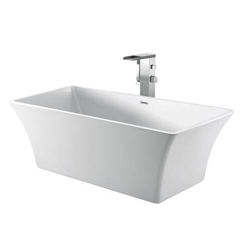 "Taylor 67"" Acrylic Tub with Integral Drain and Overflow - Polished Chrome Drain and Overflow"