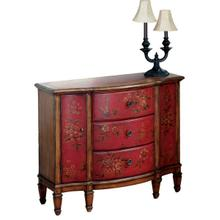See Details - Decorative hand painted design on select hardwoods and wood products. Three felt line drawers with dovetail construction on a center wood glide. Two side doors. Antique brass finished hardware.