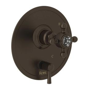 Pressure Balance Trim with Diverter - Tuscan Brass with Crystal Cross Handle