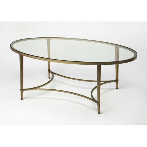 Butler Specialty Company - This fashionable coffee table not only adds an appealing, shimmering aesthetic, it is also extremely durable with and antique gold metal tube frame; the oval glass tabletop add timeless fashion and will enhance the appearance of any room it is placed in. Showcase your best coffee table books or use it with a tray to serve drinks, makes a handy place for your remote.