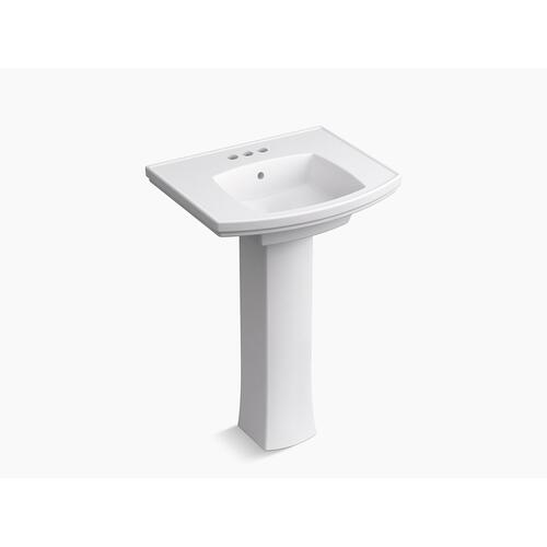 "Biscuit Pedestal Bathroom Sink With 4"" Centerset Faucet Holes"