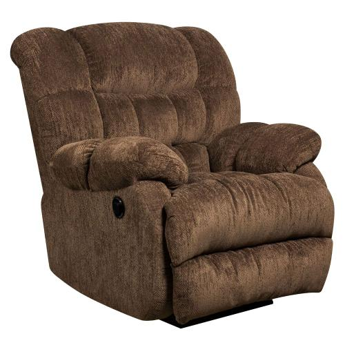 Alamont Furniture - Contemporary Columbia Mushroom Microfiber Power Recliner with Push Button