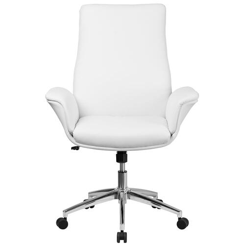 Mid-Back White Leather Executive Swivel Chair with Flared Arms