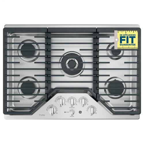 "GE Profile™ 30"" Built-In Tri-Ring Gas Cooktop with 5 Burners and Included Extra-Large Integrated Griddle"