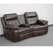 2-Seat Reclining Brown Leather Theater Seating Unit with Curved Cup Holders