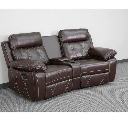 Alamont Furniture - 2-Seat Reclining Brown Leather Theater Seating Unit with Curved Cup Holders