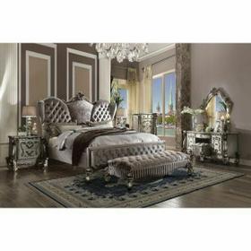 ACME Versailles California King Bed - 26814CK - Velvet & Antique Platinum